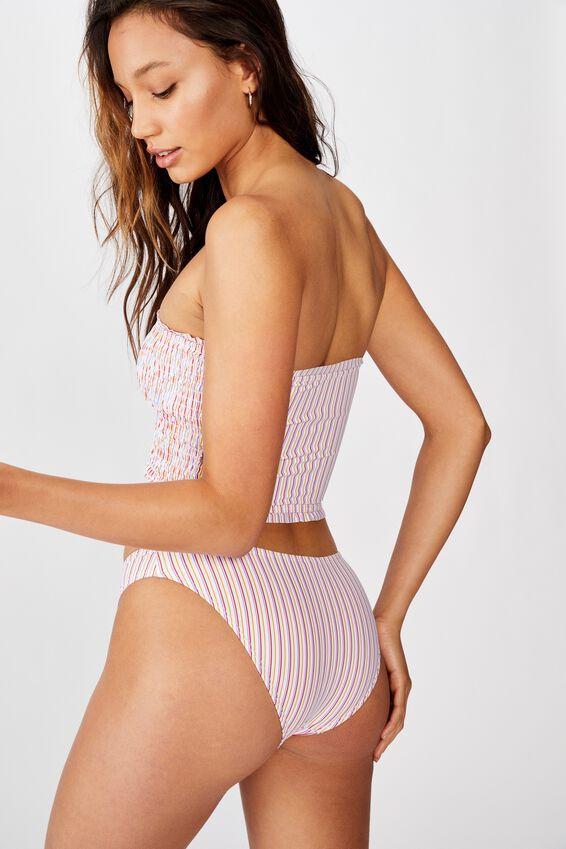 Shirred Longline Bandeau Bikini Top, CIRCUS STRIPE SHIRRED