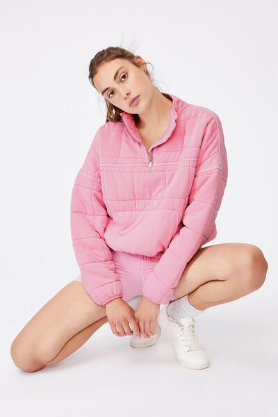Quilted Zip Through Fleece, WASHED STRAWBERRY MILKSHAKE