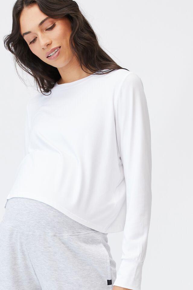 Maternity Cross Back Long Sleeve Top, WHITE