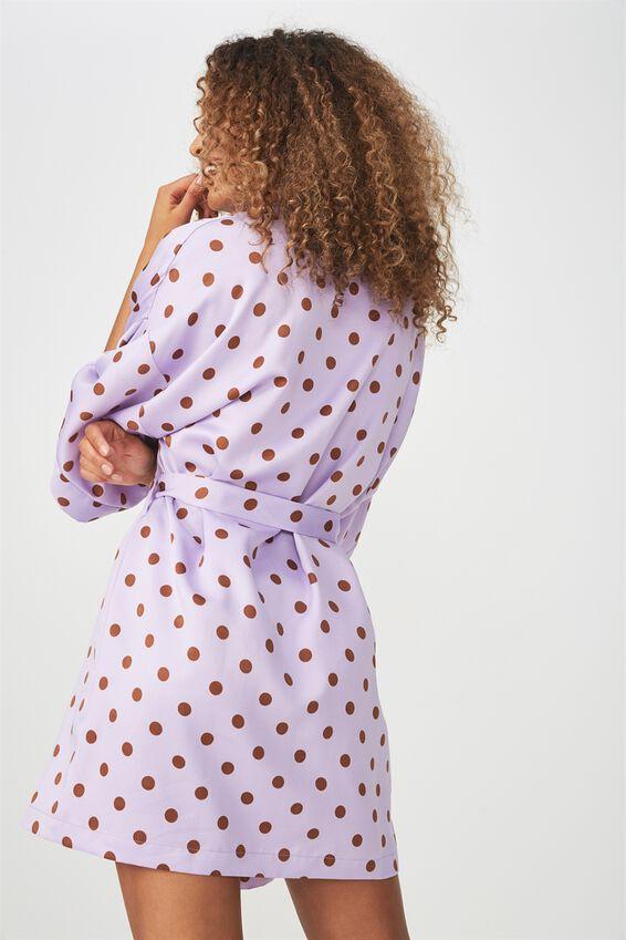Kimono Gown, LADY LILAC SPOT
