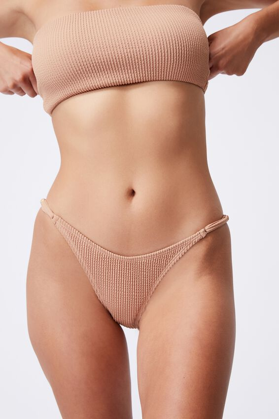 Thin Strap High Side Cheeky Bikini Bottom Crinkle, LION BROWN CRINKLE