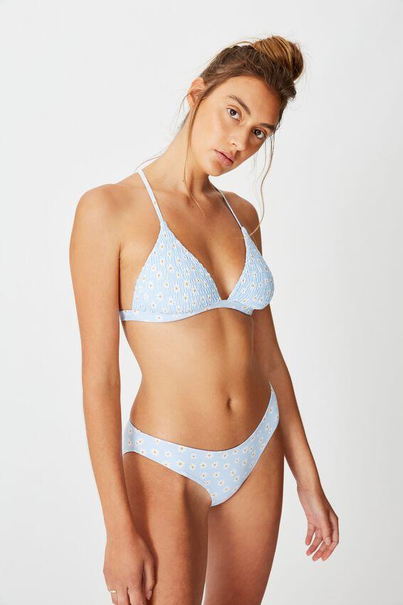 Fixed Triangle Bikini Top, SKY DAISY SHIRRED