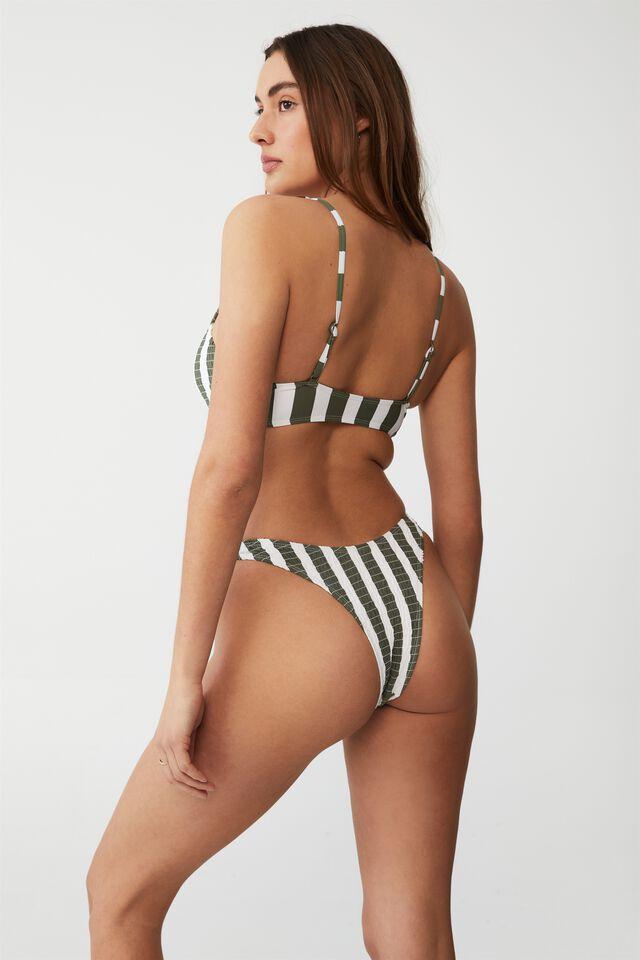 Scoop Crop Bikini Set, COOL AVOCADO STRIPE SHIRRED