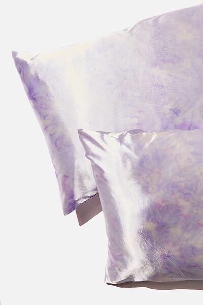 Satin Pillow Slip Duo, CHALKY LAVENDAR TIE DYE