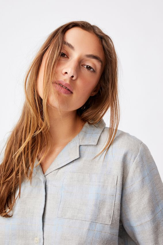 Flannel Sleep Shirt, BABY BLUE MARLE CHECK