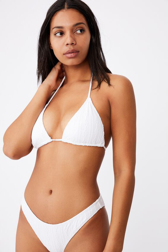 Slider Triangle Bikini Top, WHITE BROIDERIE