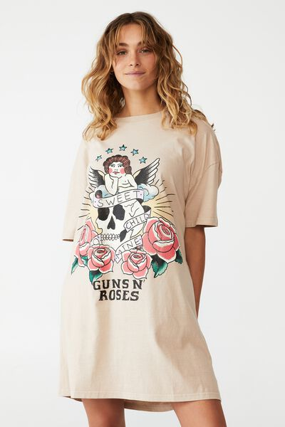 Organic Cotton 90S T-Shirt Nightie, LCN BR GUNS N' ROSES/SWEET CHILD O' MINE