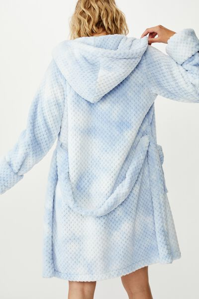 Hooded Luxe Plush Gown, TIE DYE TEXTURED