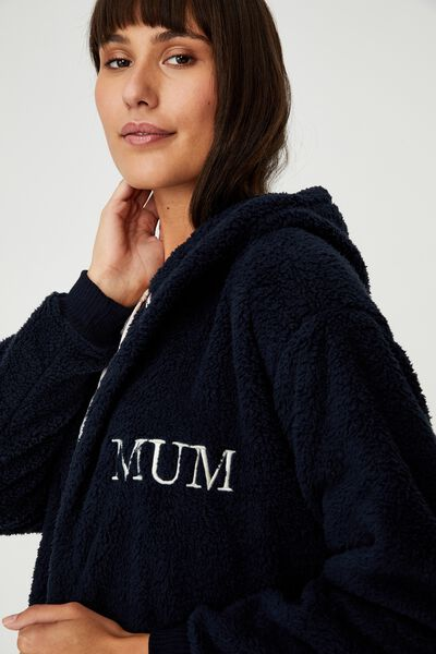 The Lounging Robe Front Personalisation, FRONT NAVY