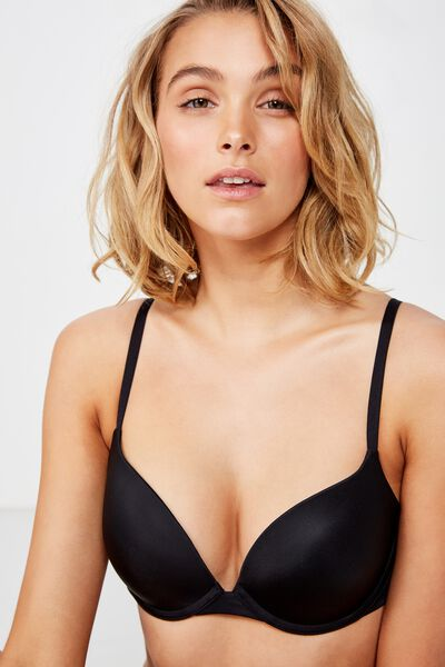 Ultimate Comfort Push Up Bra, BLACK