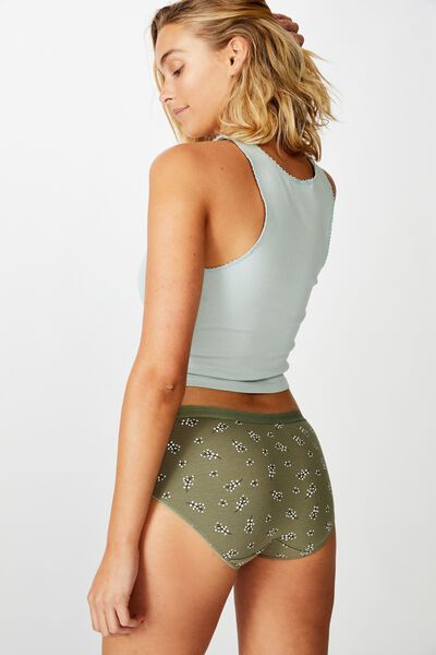 Cotton Rib Boyleg Brief, PRAIRIE DITSY KHAKI
