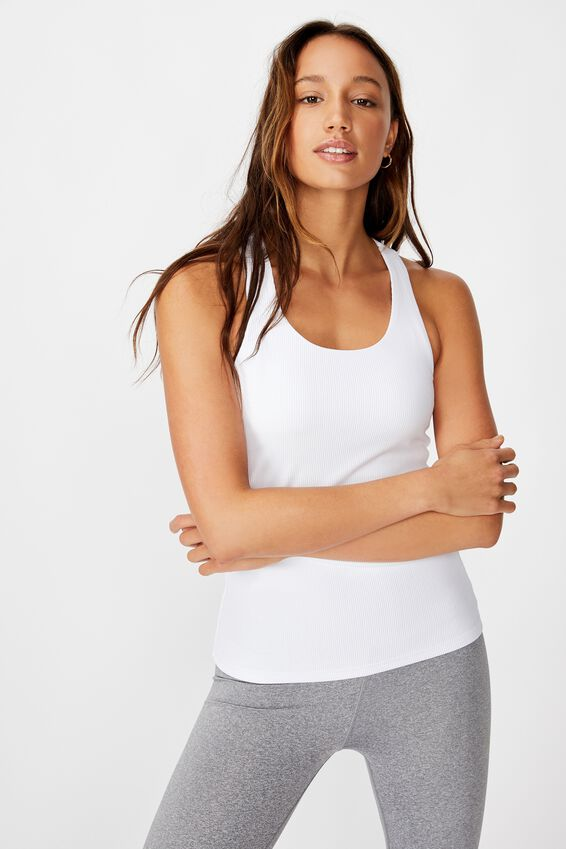 Active Fitted Tank Top, WHITE RIB