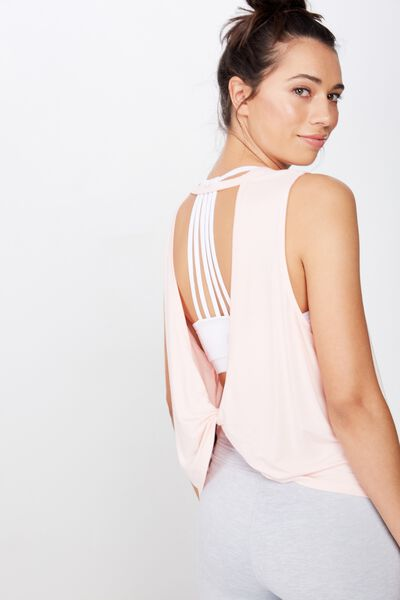 Open Twist Back Tank Top, SUMMER PEACHY