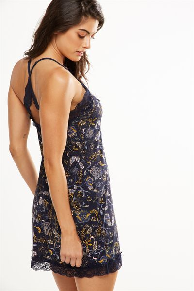 Lace Back Slinky Nightie, ORNATE HARVEST MIDNIGHT