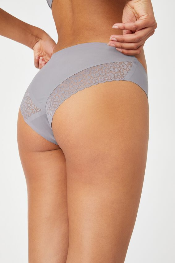 Party Pants Seamless Bikini Brief, LT GUNMETAL
