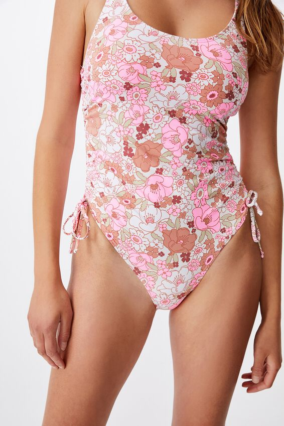Scoop Neck Side Tie One Piece Full, RETRO FLORAL PINK
