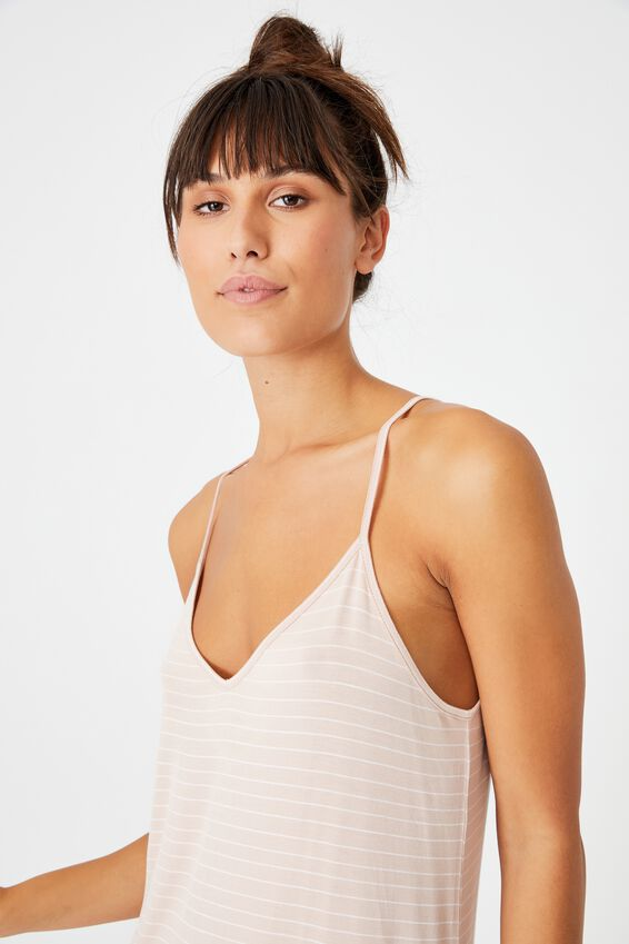 Sleep Recovery V Neck Nightie, MUSHROOM PINSTRIPE