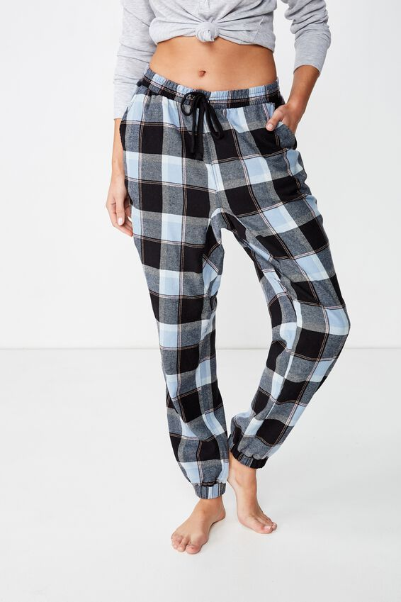 Dropped Flannel Pant, DENIM CHECK