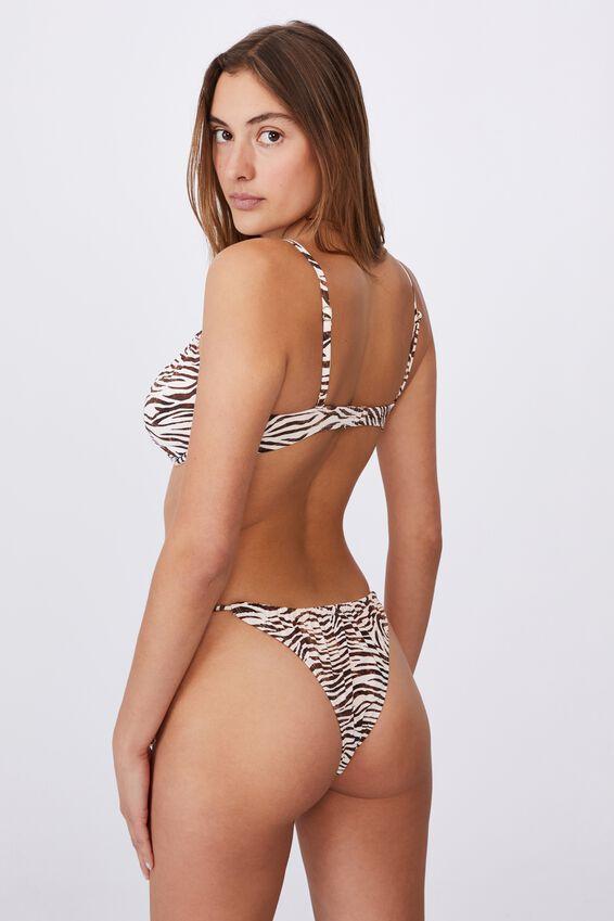 Half Wire Bra Bikini Top ( Gathered Neck Mm), MOTLED ZEBRA/TIE