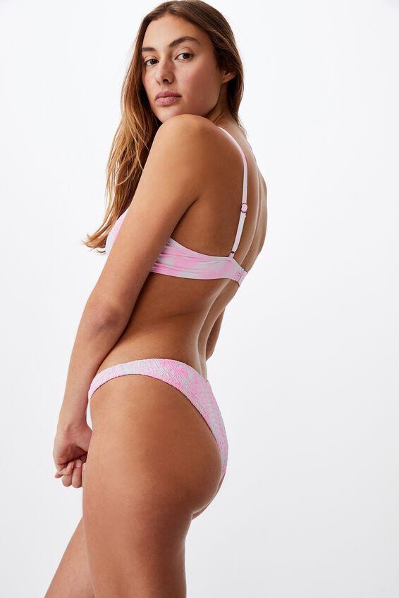 Half Wire Bralette Bikini Top, STRAWBERRY TIE DYE SHIRRED V
