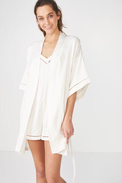 Textured Kimono Gown, CREAM