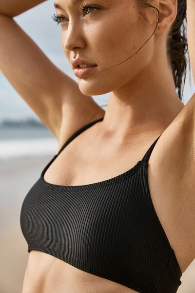 Scoop Crop Bralette Bikini Top, BLACK RIB