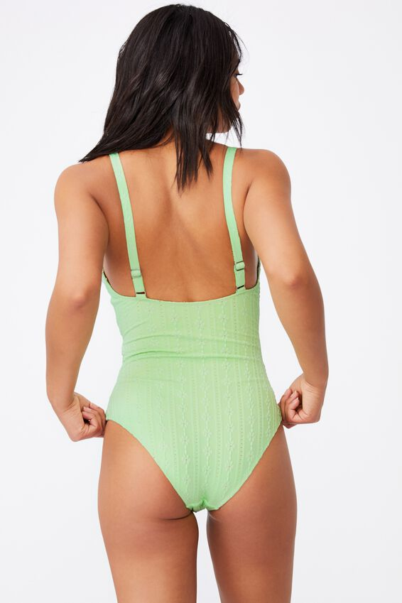 Twist Front One Piece Cheeky, MINT BROIDERIE