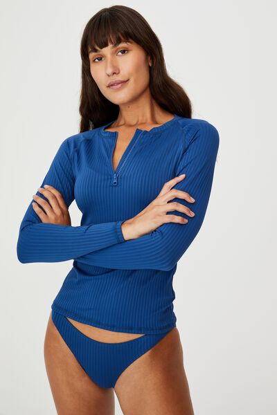 Half Zip Long Sleeve Swim Top, MARINA BLUE RIB 21