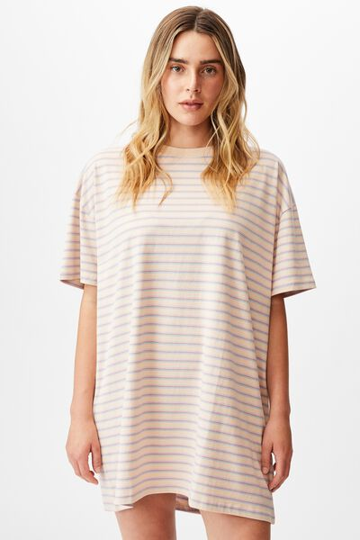 Organic Cotton 90S T-Shirt Nightie, VINTAGE STRIPE