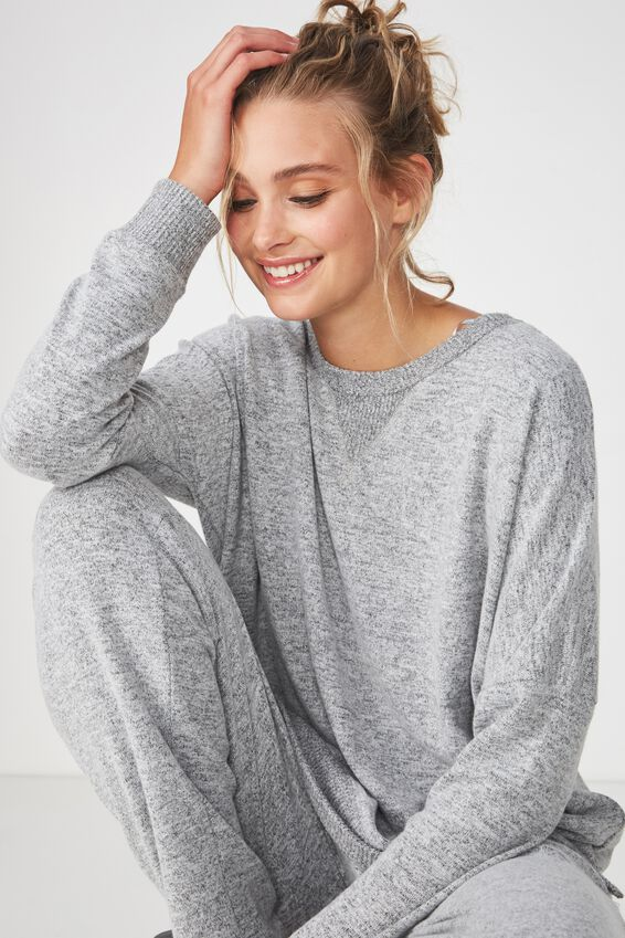 Super Soft Relaxed Lounge Crew, GREY MARLE