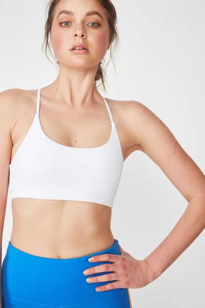 Essential Strappy Sports Crop, WHITE