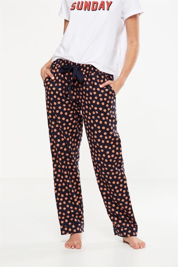 Non Cuffed Flannel Pant, NAVY BABY/MAPLE SPOT