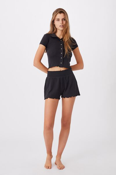 Knit Pointelle Polo, WASHED BLACK