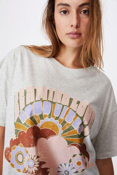 90 S Tshirt Nightie, BEAMING LOVE SOFT GREY MARLE