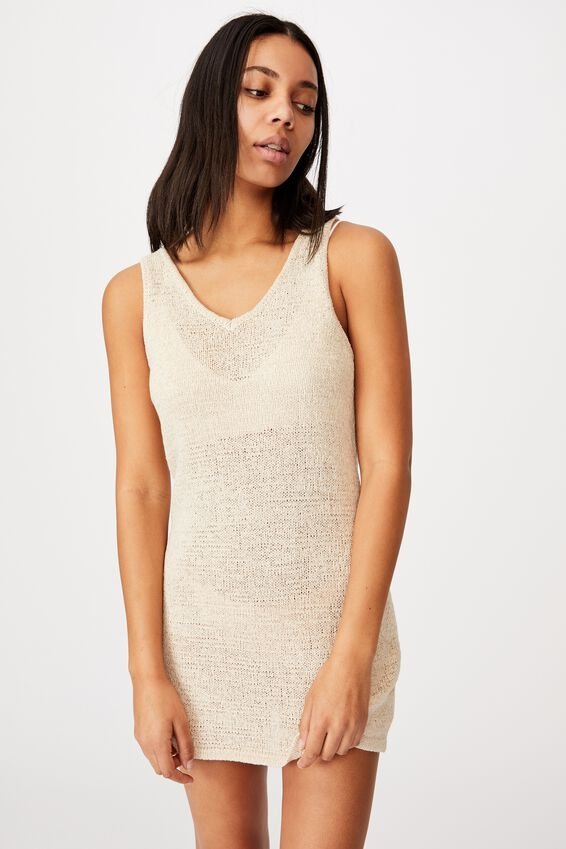 Summer Lounge Slip Dress, NATURAL