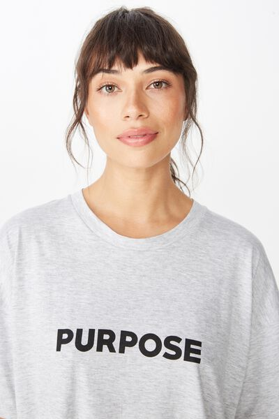 Boyfriend Placement Print T Shirt, GREY MARLE/PURPOSE