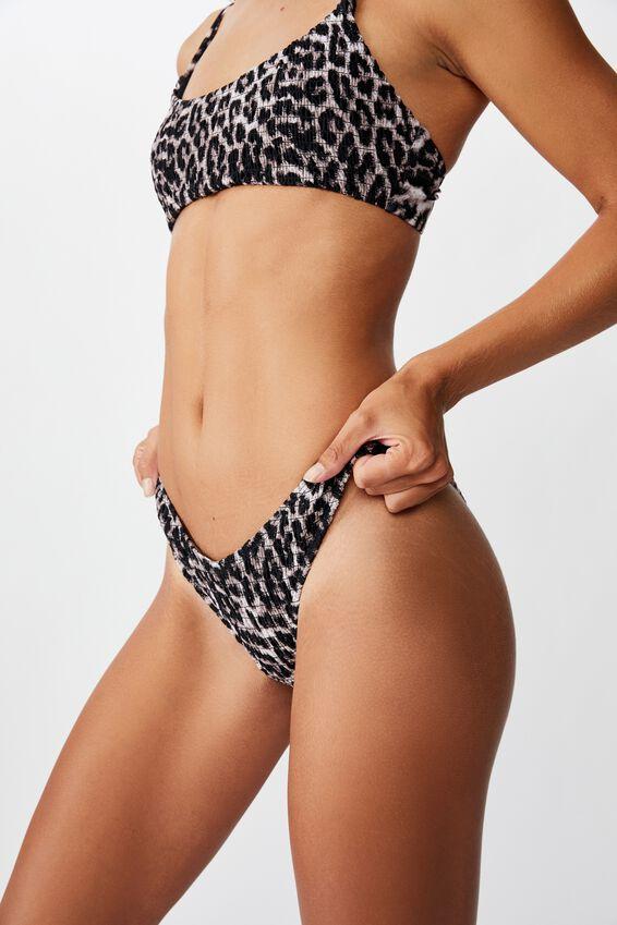 High Side Brazilian Bikini Bottom, ANIMAL SHIRRED