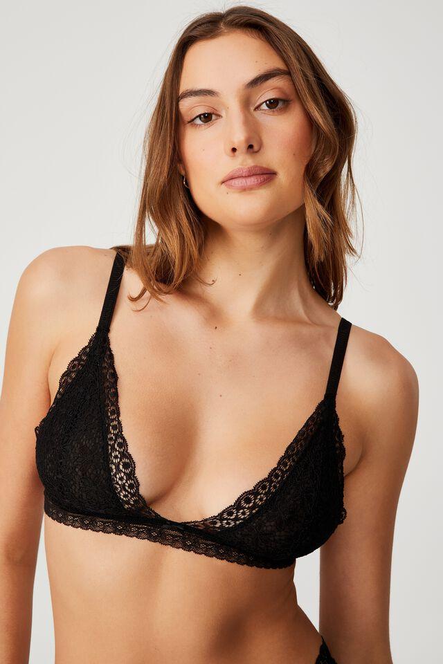 Fifi Lace Bralette, BLACK