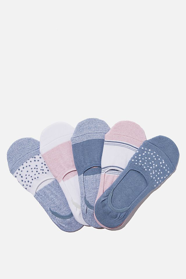 5Pk Body Invisible Sock, COPEN BLUE/PINK ALMOND
