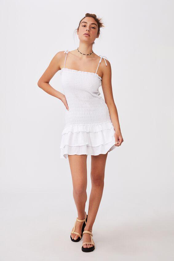 Tiered Shirred Beach Dress, WHITE