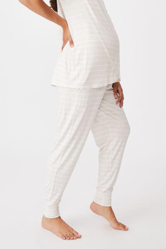 Sleep Recovery Maternity Pant, PORRIDGE STRIPE