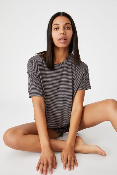 Sleep Recovery Crew T-Shirt, PHANTOM/FRUIT TINGLE STRIPE