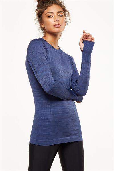 Long Sleeve Seamfree Top, ALPINE BLUE MARLE