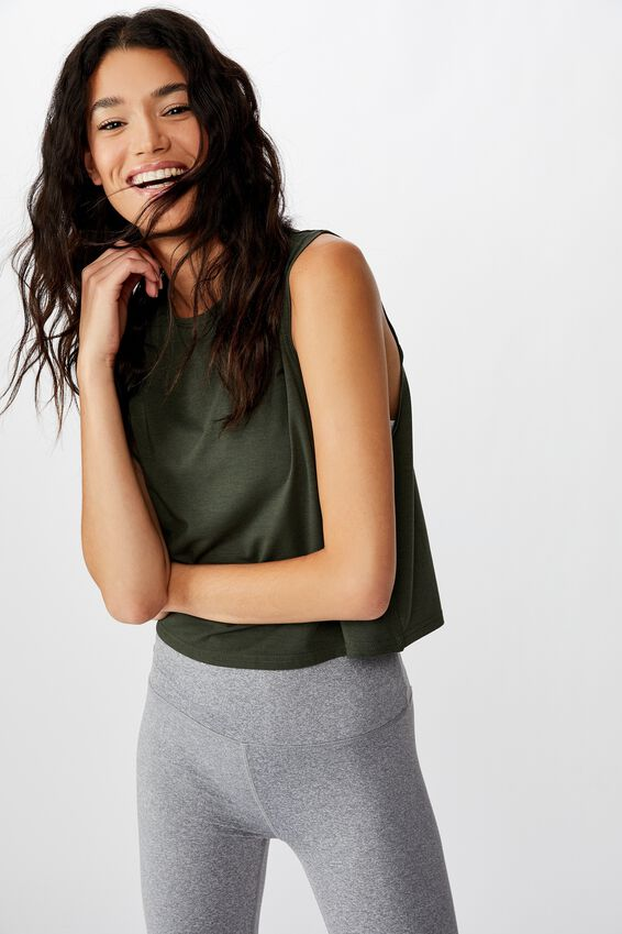 Cropped Active Muscle Tank, KHAKI