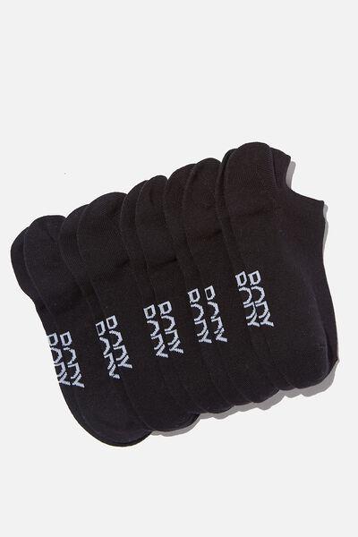 5Pk Body Low Cut Socks, BLACK