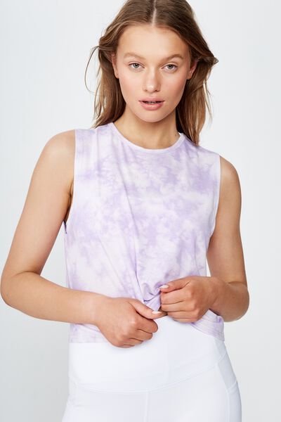 Cropped Active Muscle Tank, LILAC TIE DYE