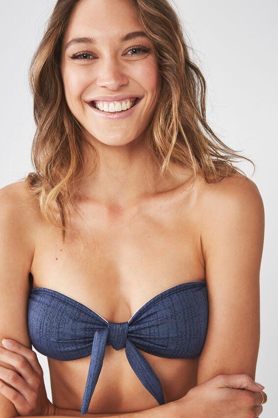 Kaya Jacquard Tie Bandeau Bikini Top, MARINA BLUE