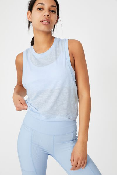 All Things Fabulous Cropped Muscle Tank, BABY BLUE