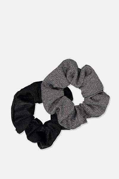 Double Scrunchie Pack, BLACK SPARKLE