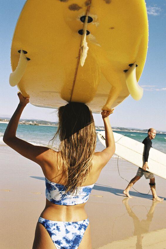Seamless Brazilian Bikini Bottom, TIE DYE BLUES